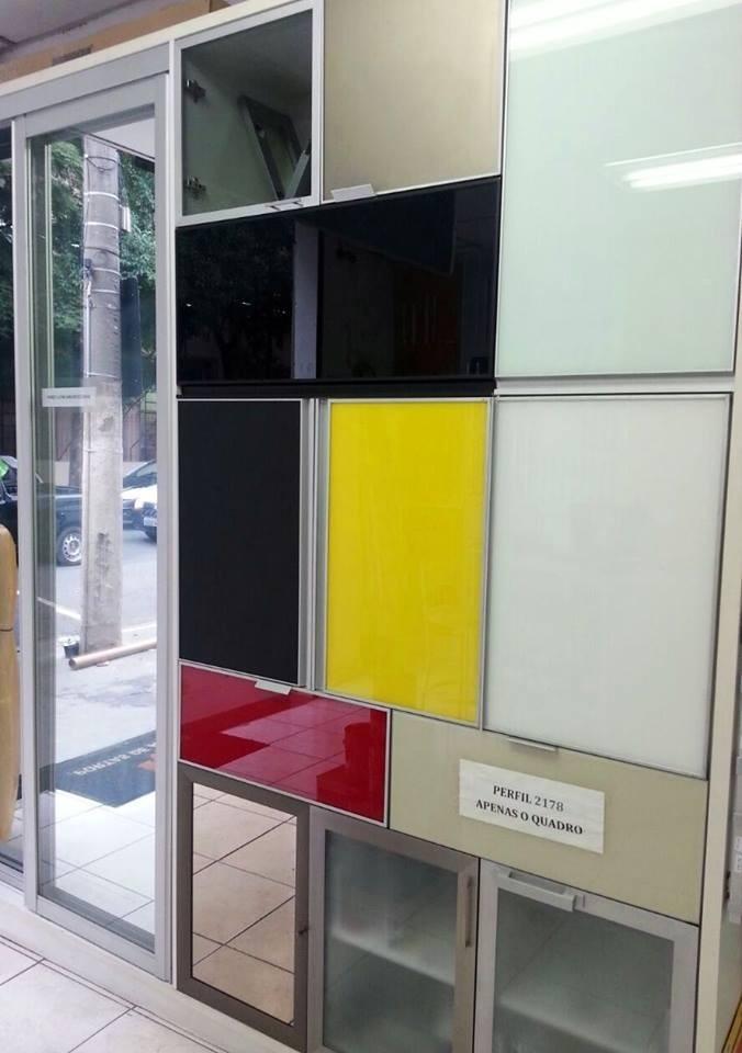 Porta de alum nio para arm rio com vidro pintado espelho mdf r 100 00 em mercado livre - Perfiles de aluminio para armarios ...
