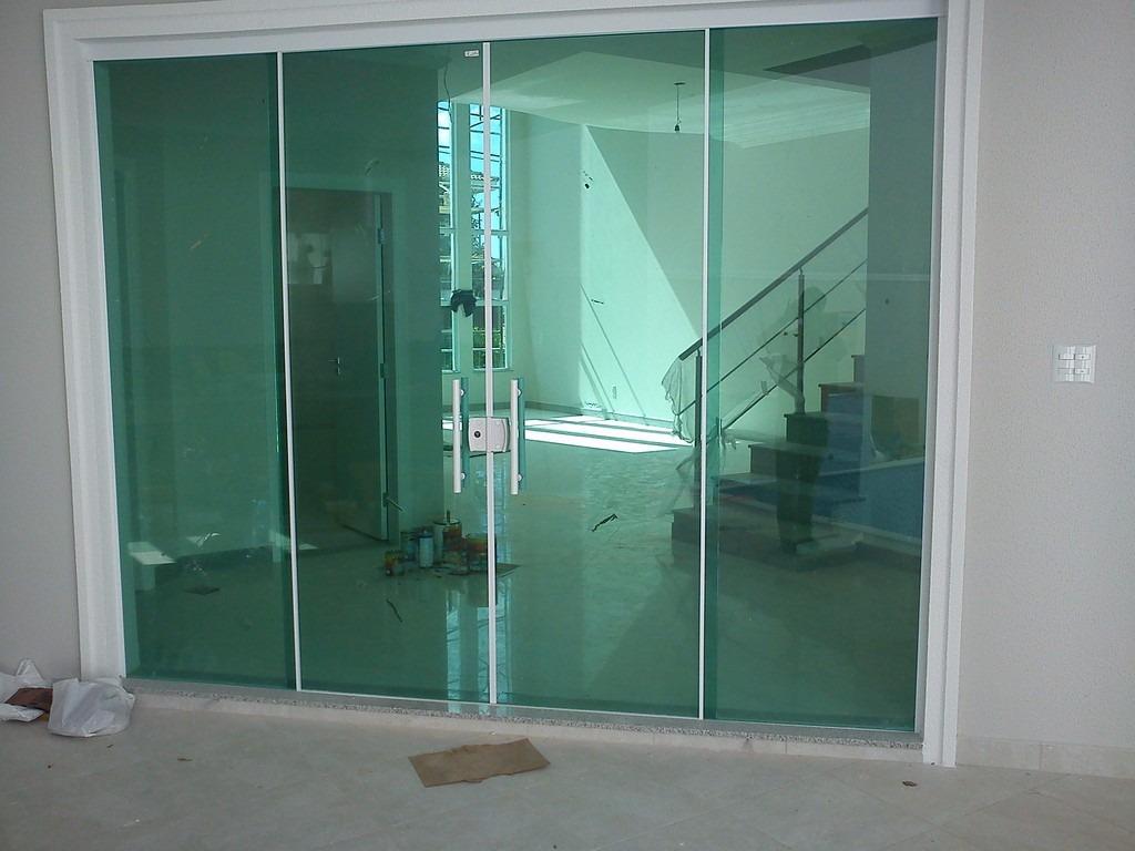 Porta de correr 4 folhas 4x2 vidro transparente semi for Porta 4 folhas de vidro temperado