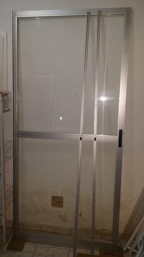 porta de correr alumínio 2 folhas vidro + marcos + veneziana