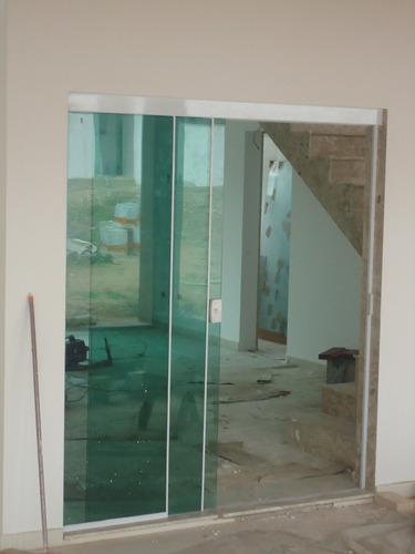 Porta de vidro temperado de correr versatik r 15 00 em for Porta 4 folhas de vidro temperado