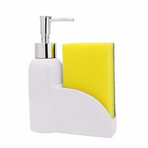 porta detergente sabonete liquido e esponja luma porcelana
