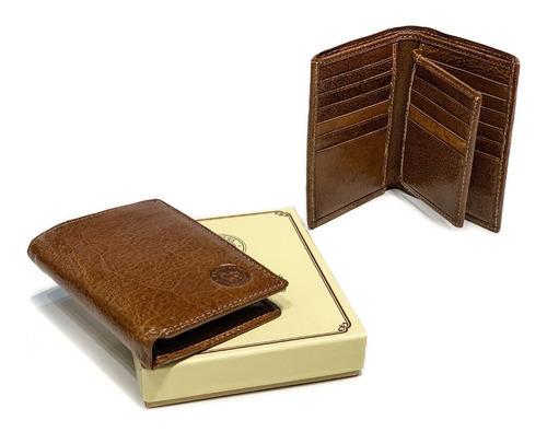 porta documentos cuero hombre billetera tarjetero capacidad para 14 tarjetas volante pesos euros dolares modelo 0079