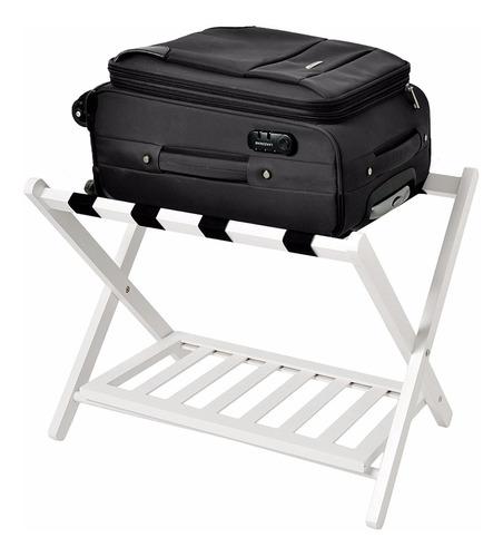 porta equipaje maleta rack madera plegable blanco