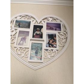 Porta Fotos En Corazón De 6 Fotos Blanco