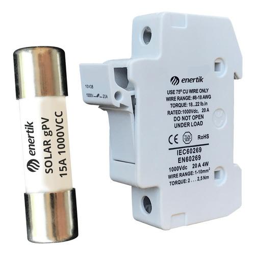 porta fusible solar gpv 1000vcc con fusible 15a incluido