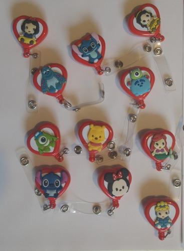 porta gafete corazón yoyo personajes dibujos animados