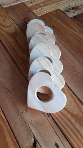 porta guardanapo de madeira formato coração (rustico)