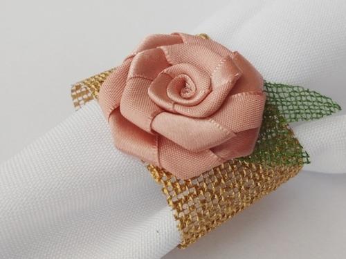 porta guardanapo flor cetim