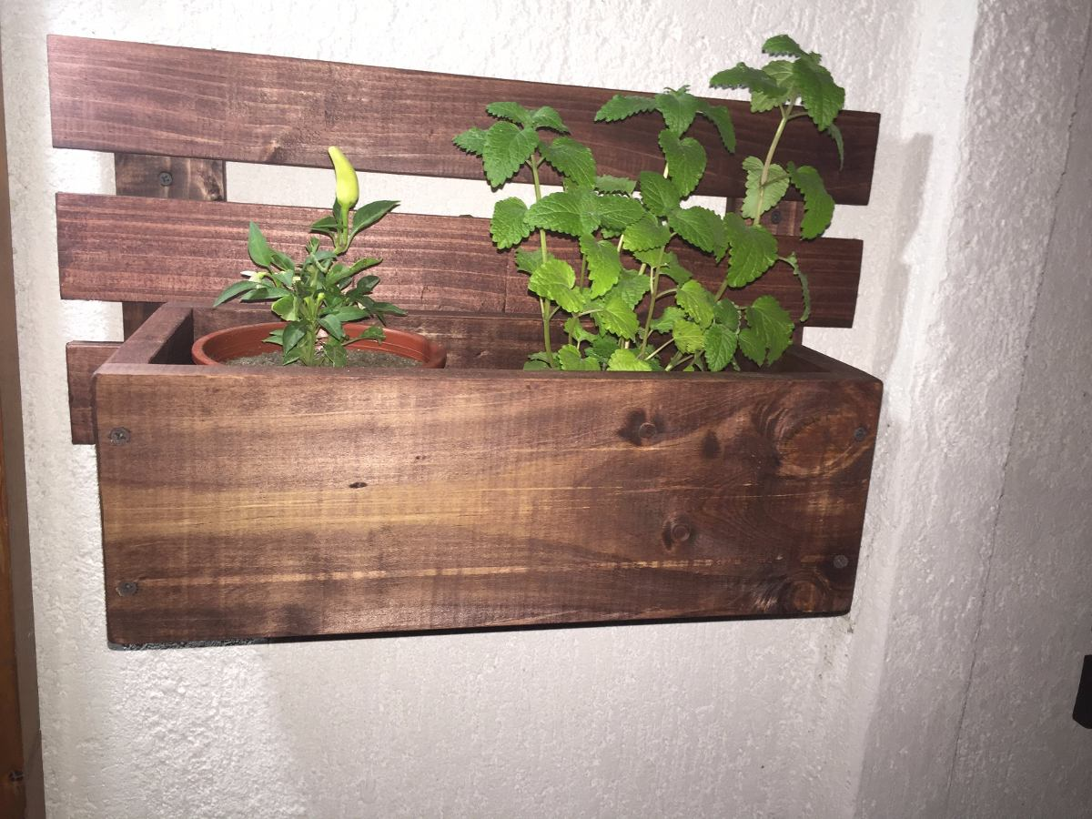 Porta jardineras de madera colgante 70x33 en - Jardinera de madera ...