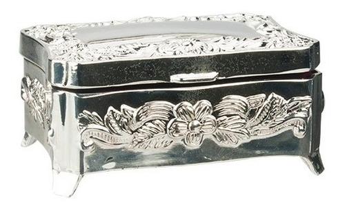 porta joias antigo vintage pequeno caixinha zamac prateado