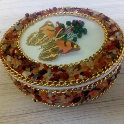 porta joias com pedra natural ágata ref:7417 - presente