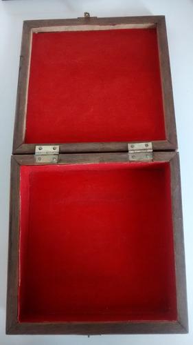 porta jóias em madeira e azulejo pintado à mão - 18x18cm