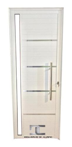 porta lambril alum. branco 2,10 x 0,90 c/ pux. friso e vidro
