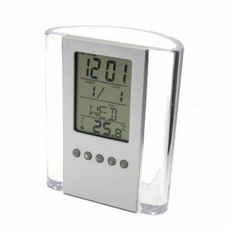 porta lapis acrílico caneta  relógio digital termómetro