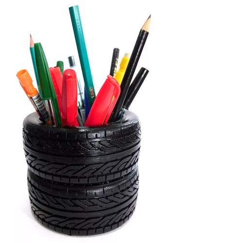 porta lápis caneta modelo pneus preto 9cm x 10,5cm ref.: 306