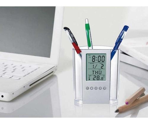 porta lapiz reloj calendario hora fecha temperatura