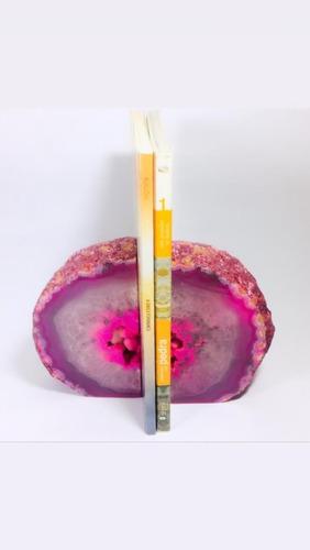 porta livro revista de pedra ágata rosa semi preciosa!
