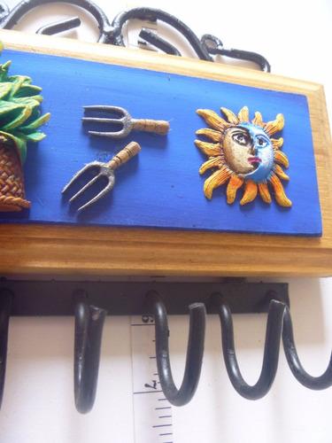 Porta llaves artesan a portallaves pared madera metal azul en mercado libre - Porta llaves pared ...