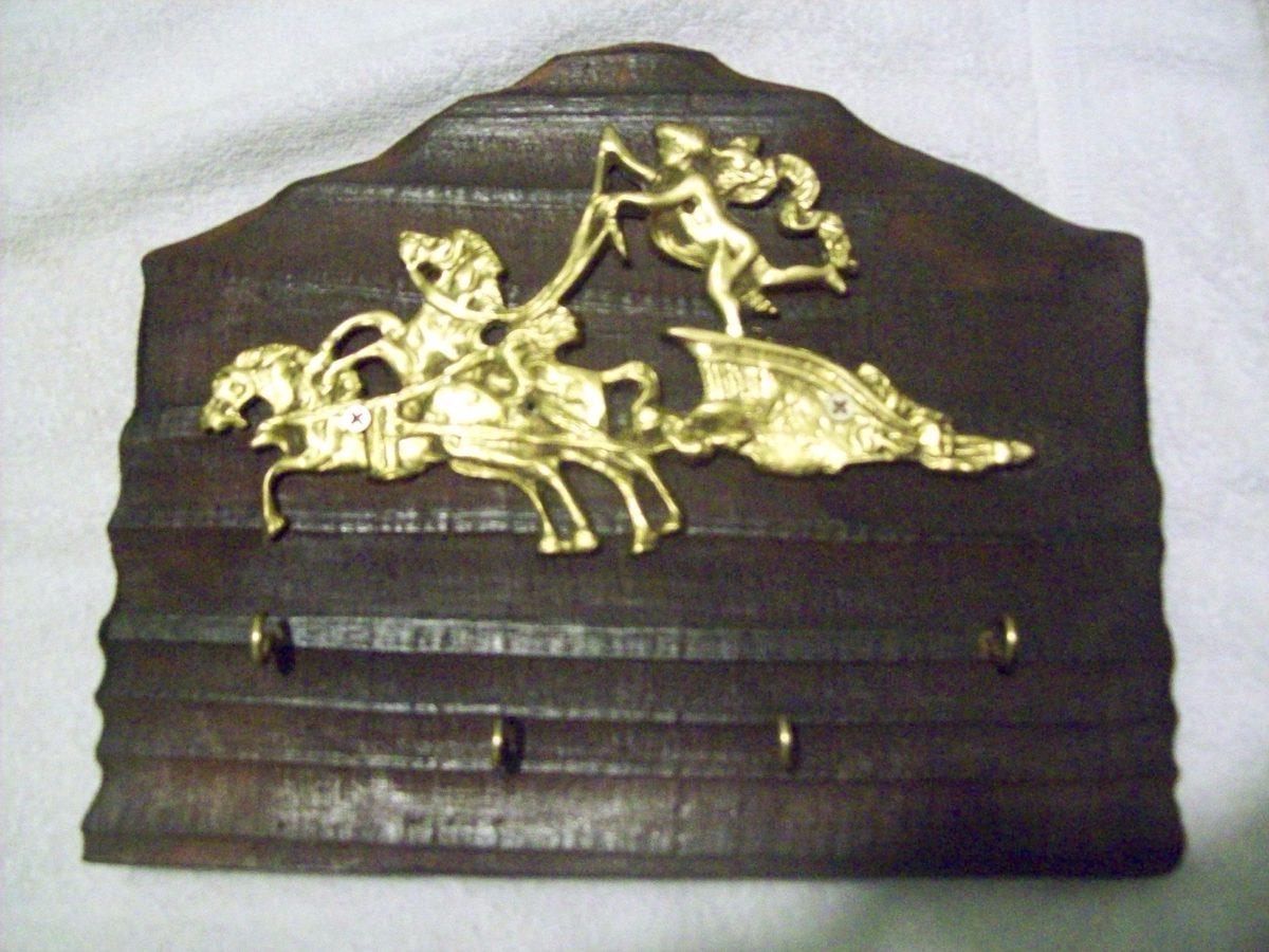 Porta llaves de pared madera y bronce 300 00 en mercado libre - Porta llaves pared ...