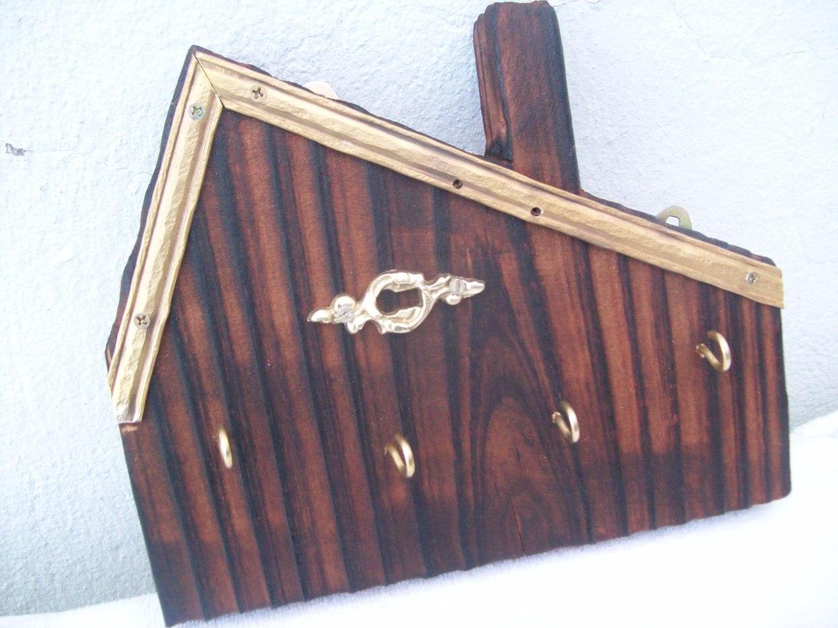Porta llaves de pared madera y bronce 250 00 en mercado libre - Porta llaves pared ...