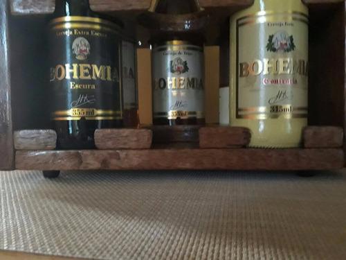 porta long neck 6 garrafas em madeira