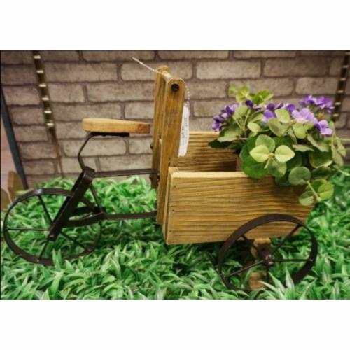porta maceta de madera hierro para jardín 873 - hay de todo!
