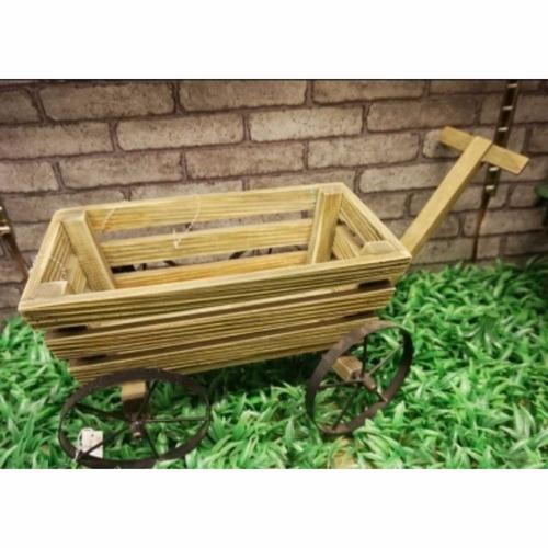 porta maceta de madera y hierro para jardín - hay de todo!