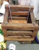 Porta macetas colgante en madera tratada cadenas - Porta macetas colgantes ...