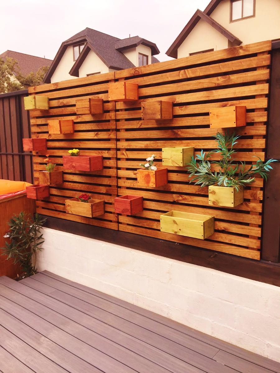 Porta maceteros de madera colgante 70x33 en for Jardineras con palets de madera