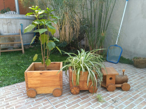 porta maceteros en madera