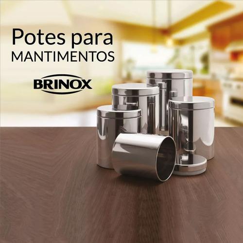 porta mantimentos inox conjunto 5 peças brinox