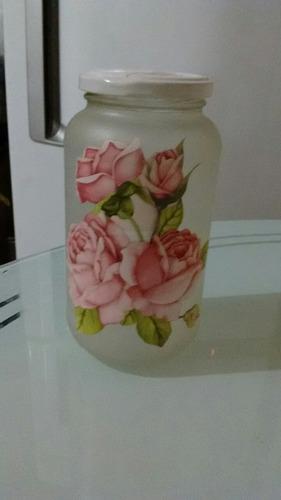 porta mantimentos jateado com flores ou craquelado
