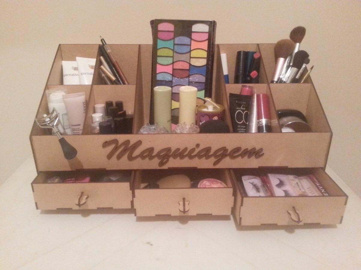 Porta maquiagem em mdf cru organizador de maquiagem r - Des trucs de decoration ...