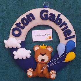 Porta Maternidade Enfeite Decoracao Quarto Em Feltro Urso