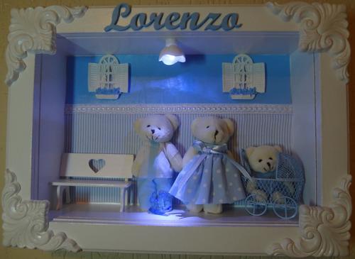 porta maternidade família urso com led lorenzo cód 009