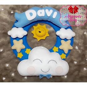 Porta Maternidade Guirlanda Nuvem, Estrela E Sol