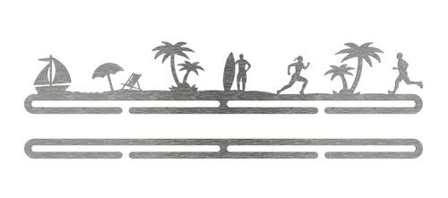 porta medalhas de corrida na praia - inox escovado