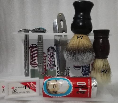 porta navajas nuevo diseño,jabon, navajas, brocha de barbero