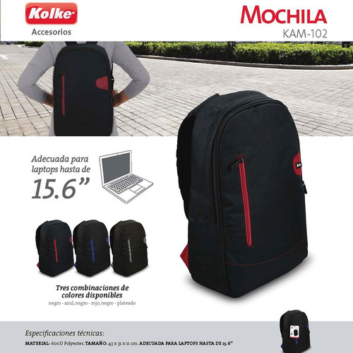 179124c95 Mochila Urban Correas Porta Notebook 15,6 Resistente Kolke - $ 670 ...
