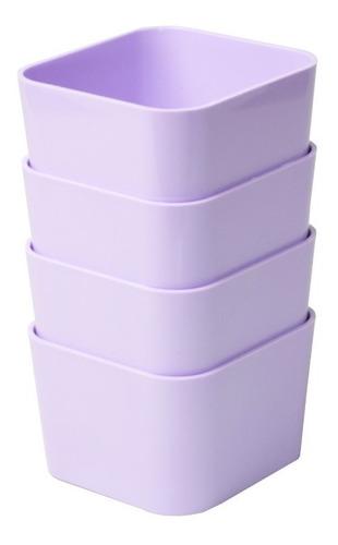 porta objetos pequeno kit c/ 4 peças lilás