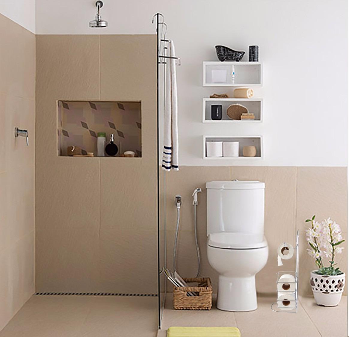 Porta papel higi nico a o cromado c estoque banheiro - Amueblar piso pequeno barato ...