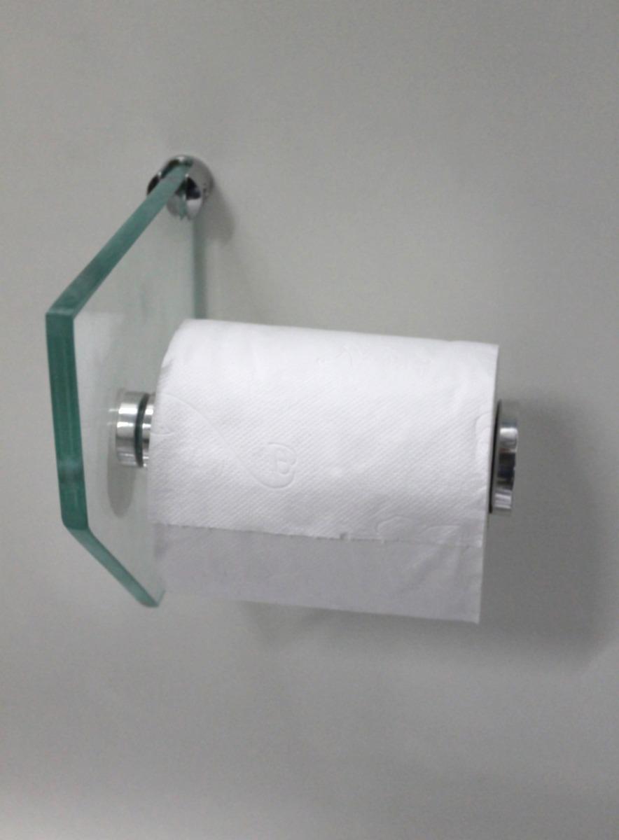 Porta Papel Higiênico De Vidro  R$ 27,00 em Mercado Livre -> Porta Para Banheiro Pequeno Mercado Livre