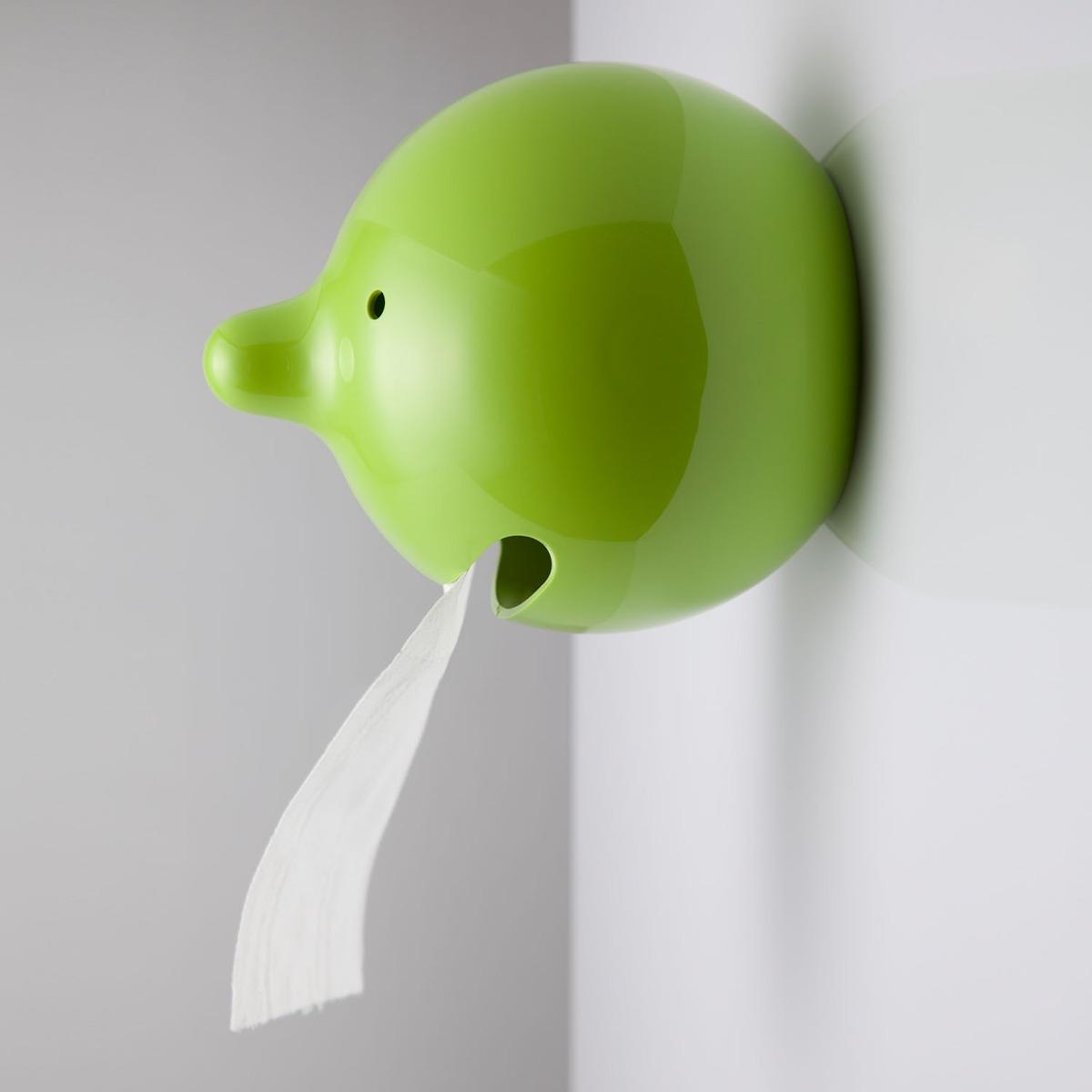 Porta papel para ba o mr p verde dispensador divertido for Ventosas para bano