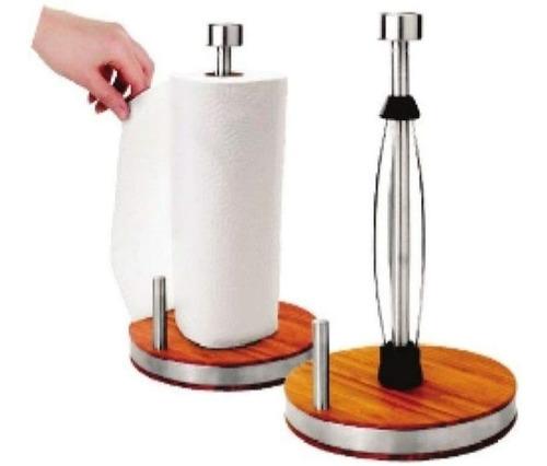 porta papel toalha aço inox e base em bambu alta qualidade