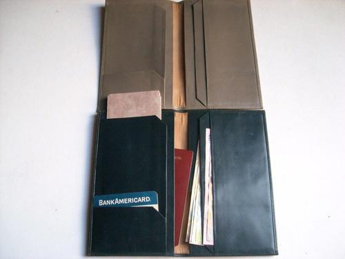 porta pasaporte porta documentos tarjetero de cuero