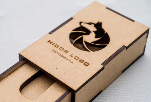 porta pendrive mdf - com logo personalizada