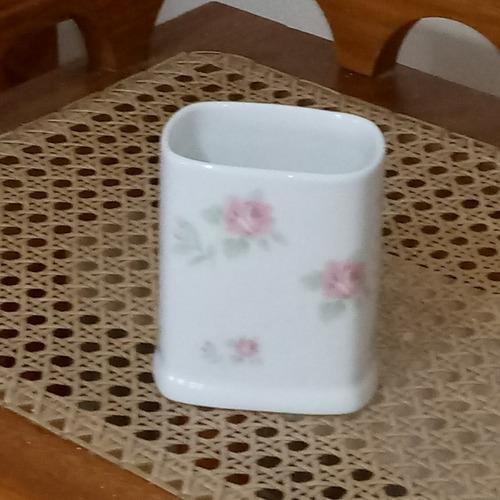 porta pente /pinceis /escova porcelana decorado floral flor