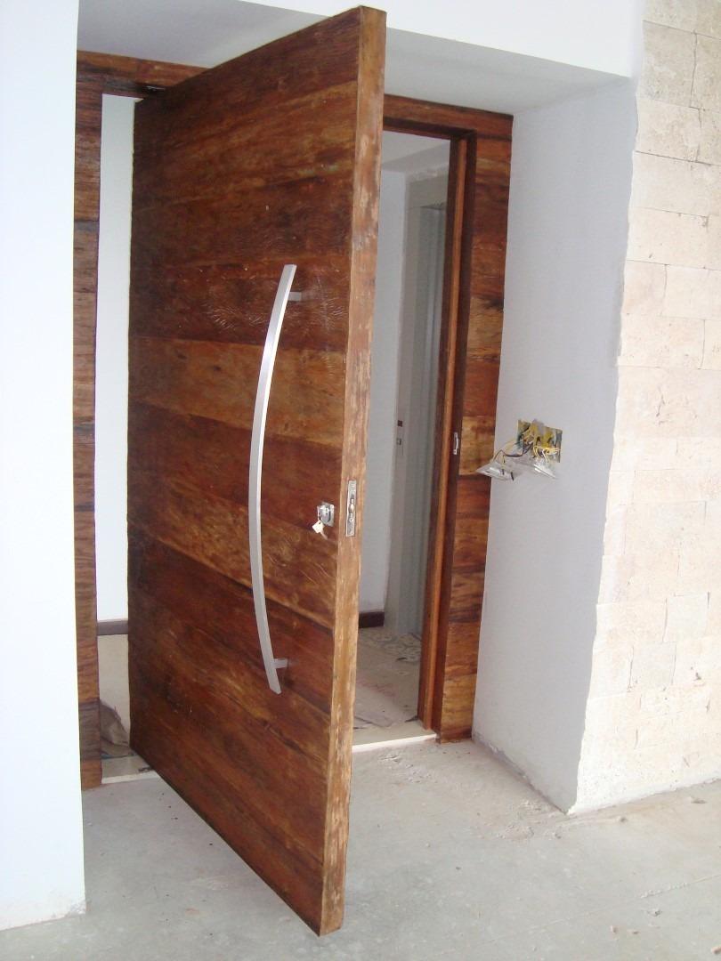 Porta Pivotante De Madeira Peroba Rosa Pre O Por M2