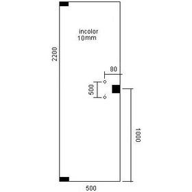 Porta Pivotante De Vidro Temperado Incolor 08 Mm 500 X 2200