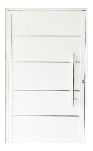 porta pivotante lambril com friso + puxador - alumínio branc